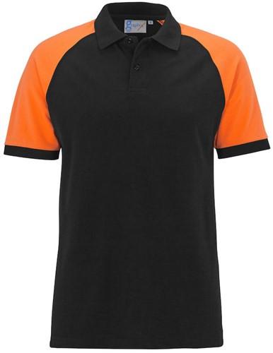 SALE! Graphix 162580 Imola Tweekleurige polo - Zwart/Oranje - Maat L
