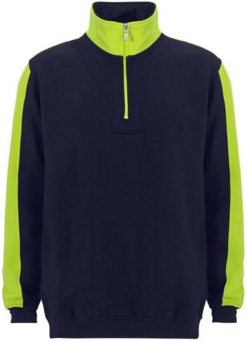 SALE! Graphix 163680 Modena Sweatshirt Half zip tweekleurig - Navy/Geel - Maat 2XL