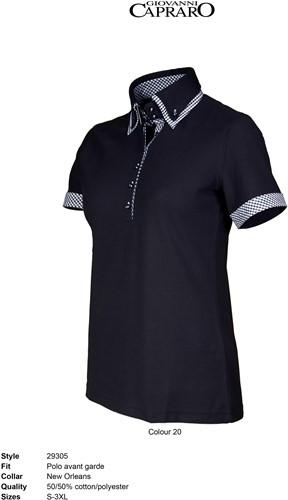 SALE! Giovanni Capraro 29305-20 Dames Polo - Zwart [Wit accent] - Maat XL