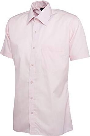SALE! Uneek UC710 Heren Poplin Half Sleeve Shirt - Roze - Maat 2XL