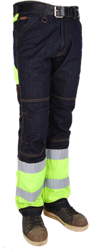 Crosshatch Toolbox-FY Spijkerbroek Fluor Geel - Breedte 28 - Lengte 30