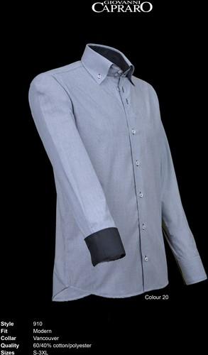 SALE! Giovanni Capraro 910-20 Heren Overhemd - Grijs [Zwart accent] - Maat XL