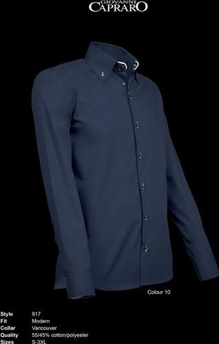 SALE! Giovanni Capraro 917-10 Heren Overhemd - Navy [Wit accent] Maat 2XL