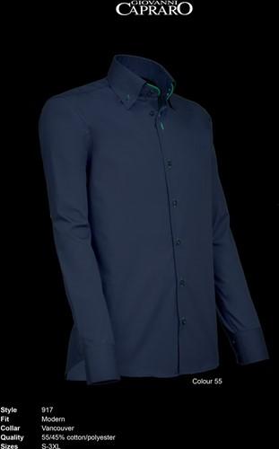SALE! Giovanni Capraro 917-55 Heren Overhemd - Navy [Groen accent] - Maat L