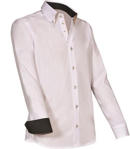 SALE! Giovanni Capraro 922-10 Heren Overhemd - Wit [Beige accent] - Maat L