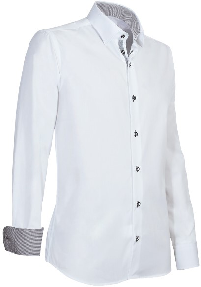 Overhemd Wit.Giovanni Capraro 935 15 Overhemd Wit Licht Grijs Accent Workwear4all
