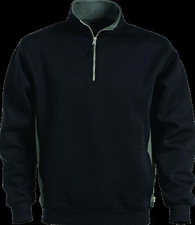 SALE! Acode 100209 Sweater met korte rits - Zwart - Maat 3XL