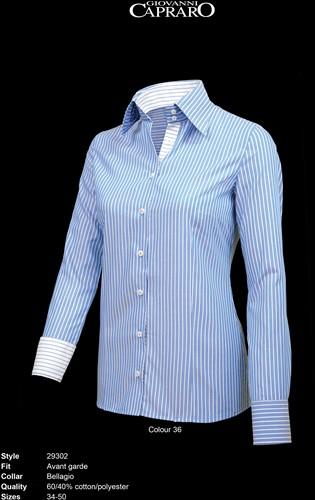 SALE! Giovanni Capraro 29302-36 Blouse - Blauw gestreept (Blauw accent) - Maat 40