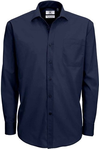 SALE! B&C 1014419 Smart LSL Heren overhemd - Navy - Maat L