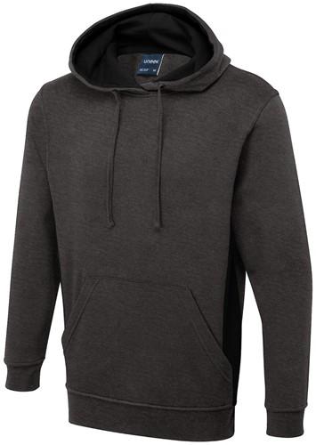 SALE! Uneek UC517 Two Tone Hooded Sweatshirt - Grijs/Zwart - Maat M