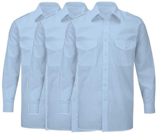 SALE! Set van 3 Munz 3738 Pilotshirt Lange en korte mouw - Blauw - Maat 37/38