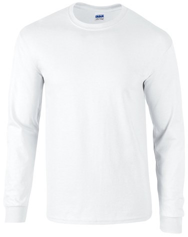 SALE! Gildan GIL2400 T-shirt Ultra Cotton Long Sleeve - Wit - Maat M