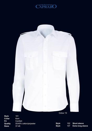 SALE! Giovanni Capraro 102-10 Pilot Overhemd Korte Mouwen - Wit - Maat 37