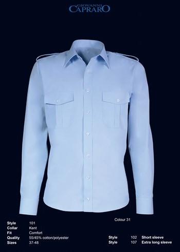 SALE! Giovanni Capraro 101-31 Pilot Overhemd Lange Mouwen - Blauw - Maat 44