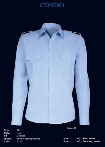 OUTLET! Giovanni Capraro 102-31 Pilot Overhemd Maat 44 LM