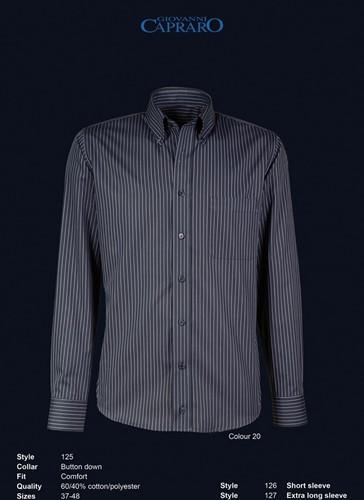 OUTLET! Giovanni Capraro 125-20 Overhemd - Zwart gestreept- Maat 43 Lange Mouwen