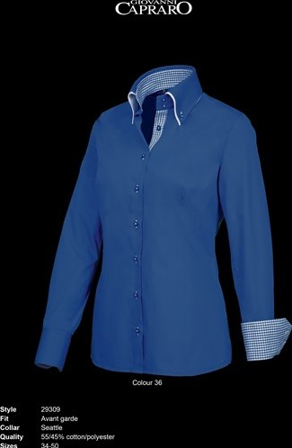 SALE! Giovanni Capraro 29309-36 Blouse - Donker Blauw (Blauw accent) - Maat 50