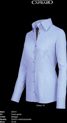 OUTLET! Giovanni Capraro 29315-10 Blouse - Licht Blauw (Wit accent) - Maat 34