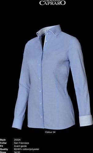 SALE! Giovanni Capraro 29324-34 Blouse - Licht Blauw (Wit accent) - Maat 42