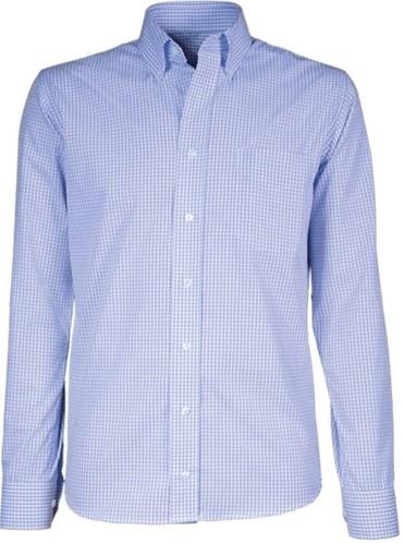 SALE! Giovanni Capraro 50-31 Heren Overhemd - Licht Blauw Geblokt - Maat 38