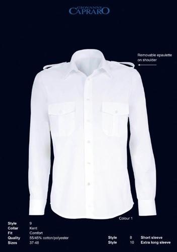 SALE! Giovanni Capraro 8-01 Pilot Overhemd - Wit - Maat 37