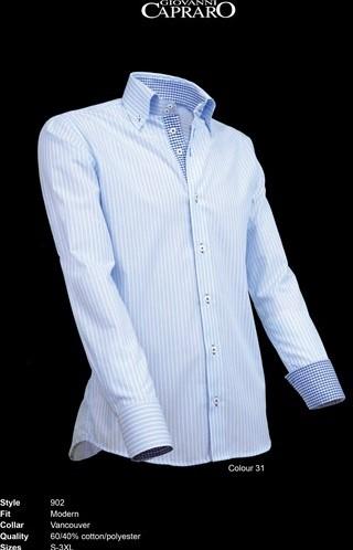 SALE! Giovanni Capraro 902-31 Heren Overhemd - Licht Blauw gestreept (Blauw accent) - Maat 2XL