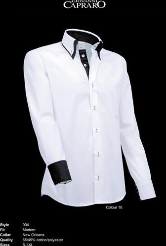 SALE! Giovanni Capraro 904-10 Overhemd - Wit (Zwart accent) - Maat L