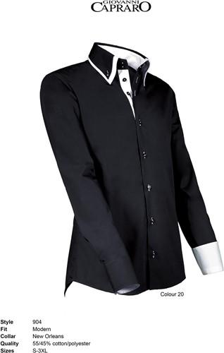 SALE! Giovanni Capraro 904-20 Overhemd - Zwart [Wit accent]- Maat S