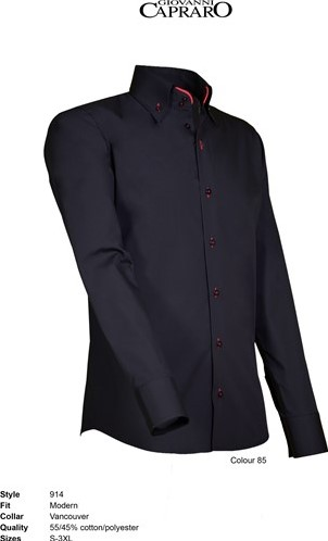 OUTLET! Giovanni Capraro 920-20 Overhemd - Zwart - Maat L
