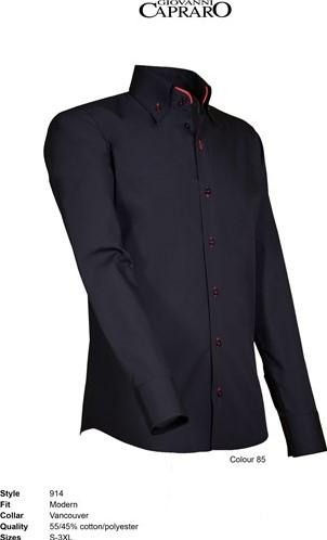 SALE! Giovanni Capraro 914-85 Heren Overhemd - Zwart [Rood accent] - Maat S