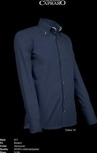 SALE! Giovanni Capraro 917-10 Heren Overhemd - Navy (Wit accent) - Maat L