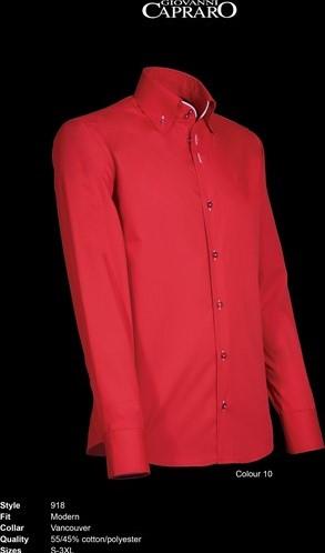 SALE! Giovanni Capraro 918-10 Heren Overhemd Rood [Wit accent] - Maat S