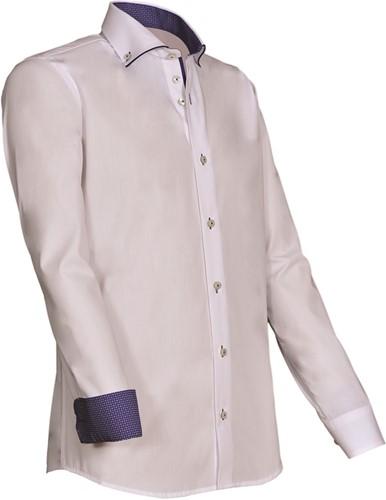 SALE! Giovanni Capraro 923-35 Heren Overhemd - Wit [Blauw accent] - Maat M