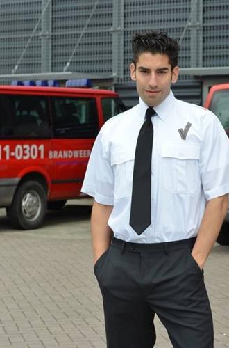 SALE! Heren Pilot shirt + V teken KM - Wit - Maat 41/42
