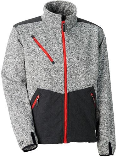 SALE! Jobman 1247 Softshell Jack Layer 3 - Grijs melange/rood - Maat XL