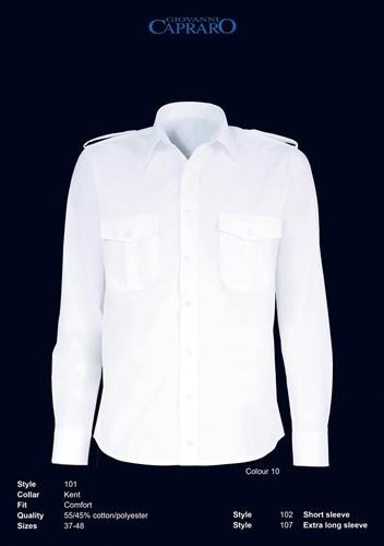 SALE! Giovanni Capraro 102-10 Pilot Overhemd Korte Mouwen - Wit - Maat 40