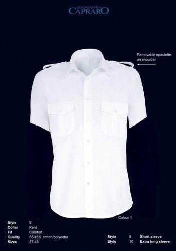SALE! Giovanni Capraro 8-01 Pilot Overhemd Korte Mouw - Wit - Maat 37