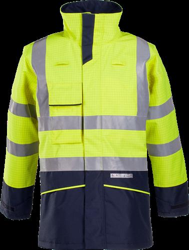 SALE! Sioen Hedland Vlamvertragende en Antistatische Signalisatie Regenparka - Fluo Geel/Marine - Maat XL