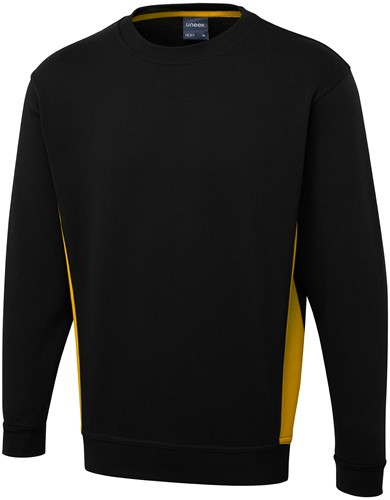 SALE! Uneek UC217 Two Tone Sweatshirt - Zwart/Geel - Maat M