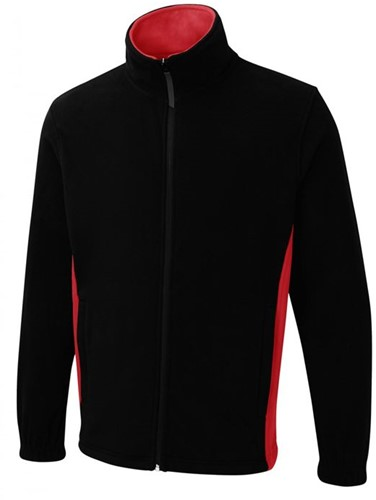 SALE! Uneek UC617 Two Tone Full Zip Fleece Jack - Navy/Rood - Maat M