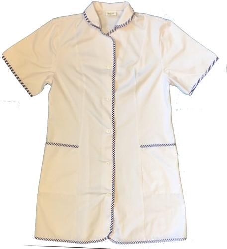 OUTLET! Witte Dames Zorg jas met blauw accent - Maat 42